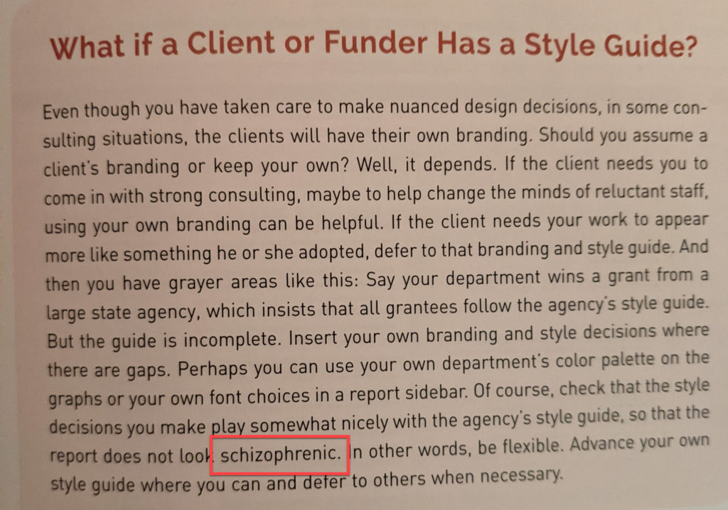 """Image of the passage from my book where I use the word """"schizophrenic"""" to describe the formatting of a report."""
